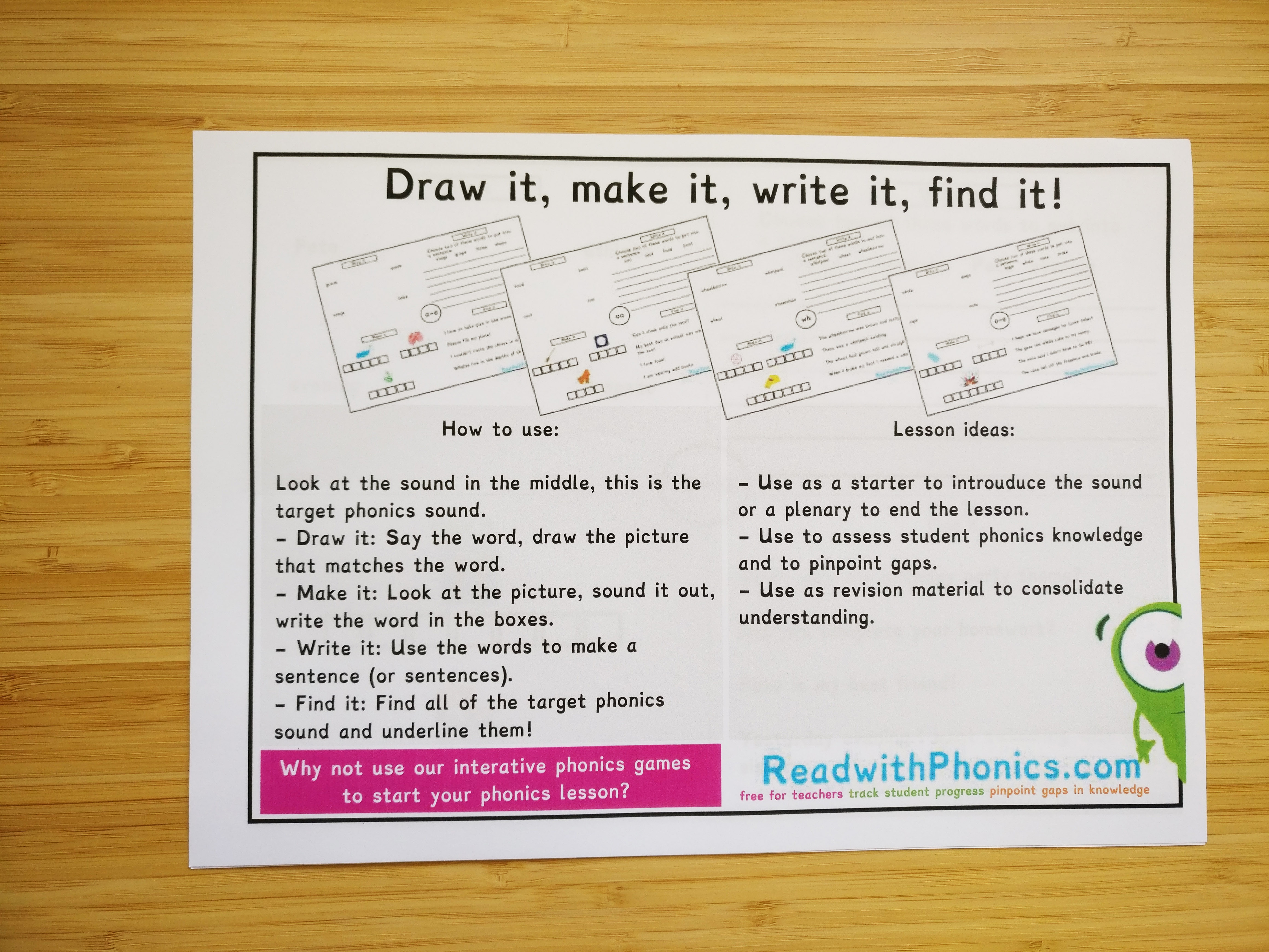 Draw it, make it, write it, find it! Age 5+ | ReadwithPhonics - Learn to  Read with Phonics